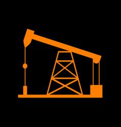 oil drilling rig sign orange icon on black vector image