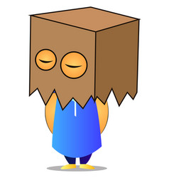 old man with box on head on white background vector image