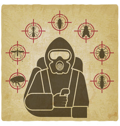 pest control exterminator in protective suit vector image
