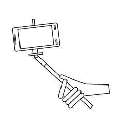 Phone in selfie stick icon outline style vector image