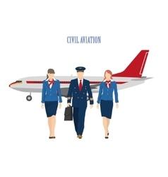 pilot and a flight attendant vector image