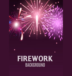 pink and purple firework background with realistic vector image