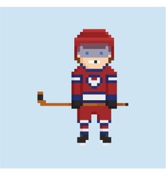 pixel art style shows hockey player in red white vector image vector image