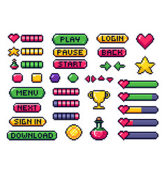 pixel game buttons games ui gaming controller vector image