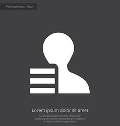 Profile application premium icon white on dark bac vector