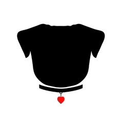 Pug silhouette with red heart on the collar Good vector image