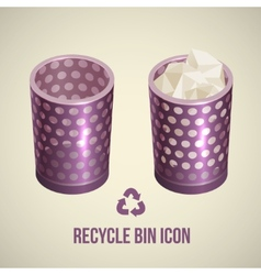 Realistic recycle bin icon vector