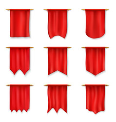 realistic red pennants medieval royal flag banner vector image