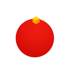 red christmas ball isometric object vector image