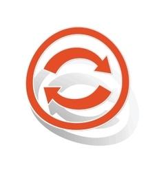 Refresh sign sticker orange vector