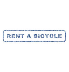 Rent a bicycle textile stamp vector