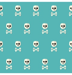 Seamless Halloween Skull Pattern with Bones over vector image