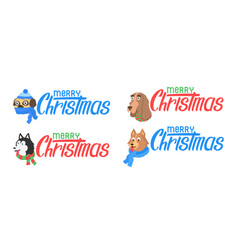 set dog with text merry christmas lettering vector image