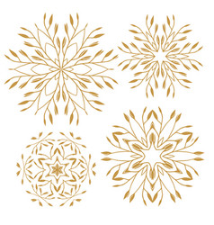 Set of elements for design stylized flowers vector