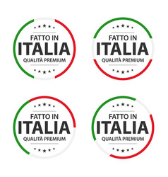set of four italian icons made in italy vector image