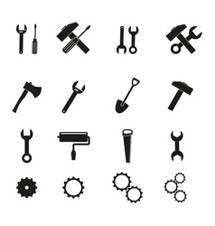 set of tools black icons vector image