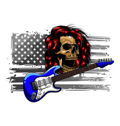 Sketch a guitar with a skull vector