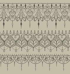 Sketch of endless stripes in henna tattoo style vector