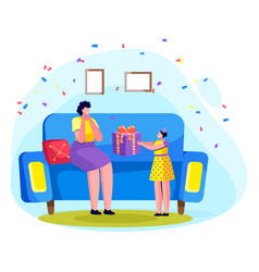 Small girl making gift for mother at home vector