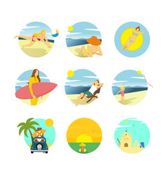 summer activity scenery design template set vector image
