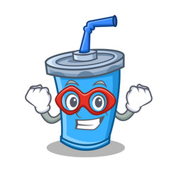Super hero soda drink character cartoon vector