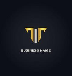 T shape line gold logo vector