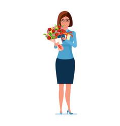 Teacher holds flowers presents and a postcard on vector