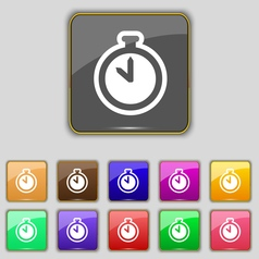 The stopwatch icon sign Set with eleven colored vector image