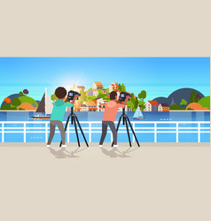 travel photographers taking nature picture of vector image