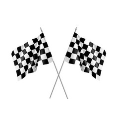 Two racing flags crossed realistic vector