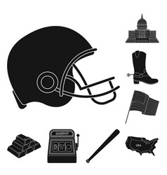 Usa country black icons in set collection for vector