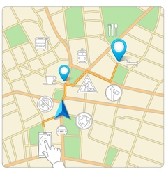 Using phone for street map navigation vector