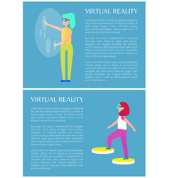 Virtual reality isolated on bright blue image vector