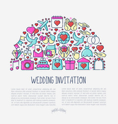 Wedding invitation concept in half circle vector