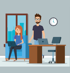 young couple in the workplace scene vector image