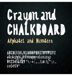 Chalkboard and crayon alphabet vector image vector image