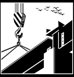 crane and beam vector image vector image