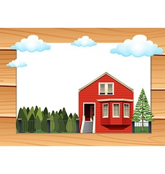 Red house on the wooden wall vector image vector image