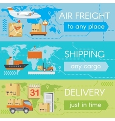 Set of delivery web banners vector image