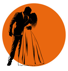 silhouettes of kissing bride and groom against an vector image vector image