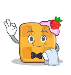 waiter waffle character cartoon design vector image vector image