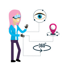 woman inside virtual reality and futuristic game vector image