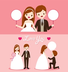 Bride And Groom In Wedding Clothing Set vector image vector image