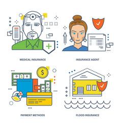 medical insurance agent flood insurance vector image
