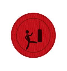 Red circular frame with man kicking a punching bag vector