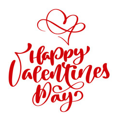 red happy valentines day typography poster with vector image