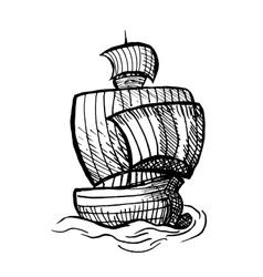 sailing medieval ship vector image
