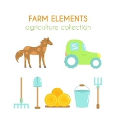 Cartoon farm elements Flat argiculture collection vector image