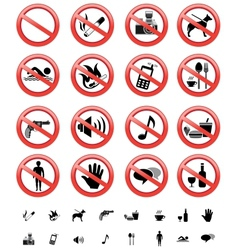 forbidden signs set vector image