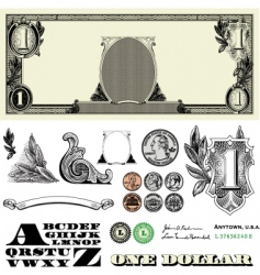 money and coin set vector image vector image